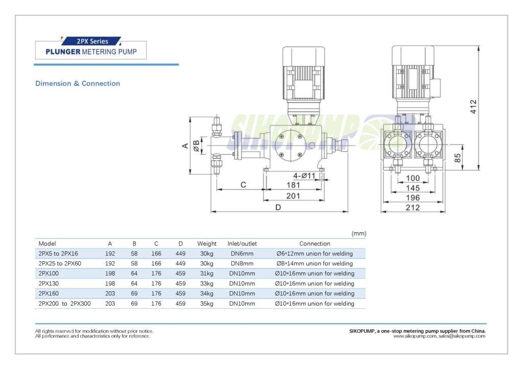 2PX metering pump size