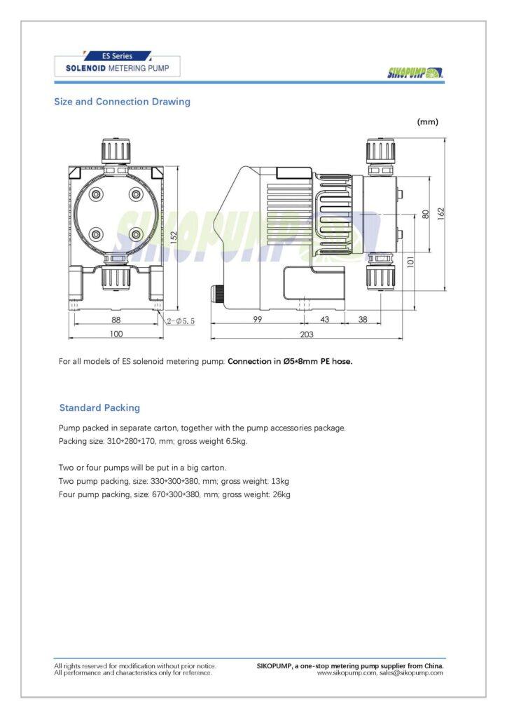 ES solenoid metering pump size