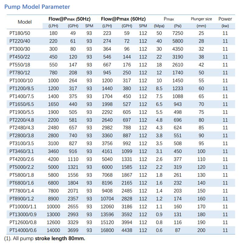 PT plunger metering pump parameter