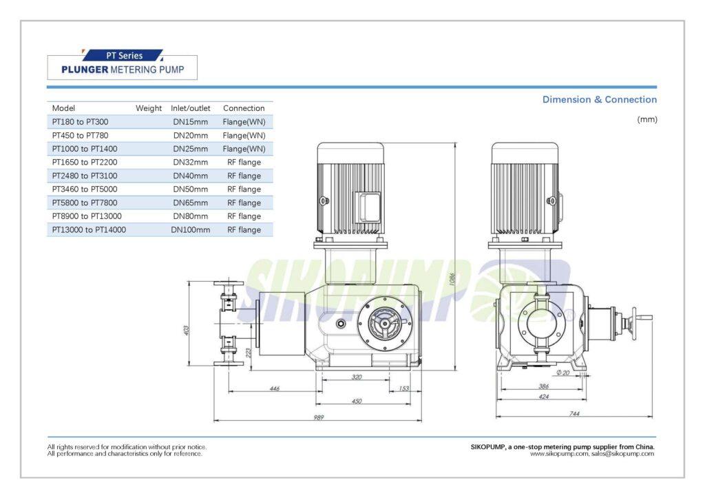 PT plunger metering pump size